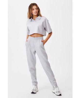 Factorie - Short Sleeve Crop Polo Top - Grey marle