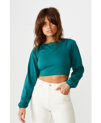 Factorie - Tie Up Back Statement Sleeve Top - Pacific