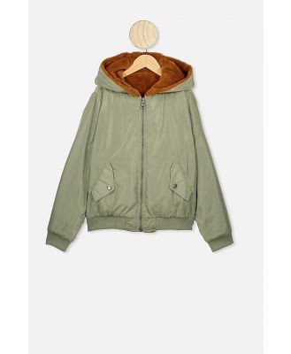 Free by Cotton On - Anna Reversible Bomber Jacket - Khaki/amber brown