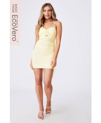 Supré - Ashley Ruched Dress - Libby floral creamy yellow