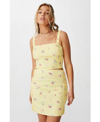 Supré - Naomi Shirred Side Skirt - Sunshine yellow floral