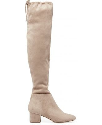 Abbie Low Block Over-The-Knee Boots - Taupe