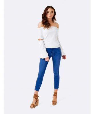 Alex Cut Out Elbow Bardot Top - White