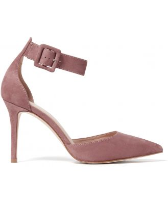 Andie Square Buckle Court Heels - Dusty Blush