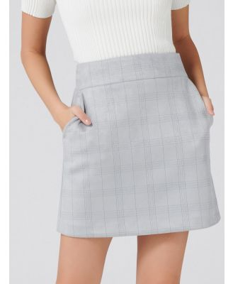 Angeline Suedette A-Line Mini Skirt - Grey Check