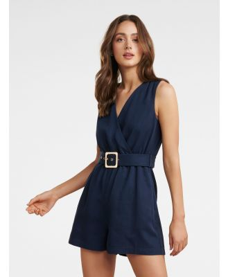 Asher Wrap Playsuit - Navy