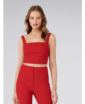 Carly Co-ord Square Neck Fitted Crop Top - Cherry Red