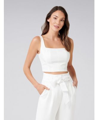 Carly Square Neck Fitted Crop Top - Porcelain