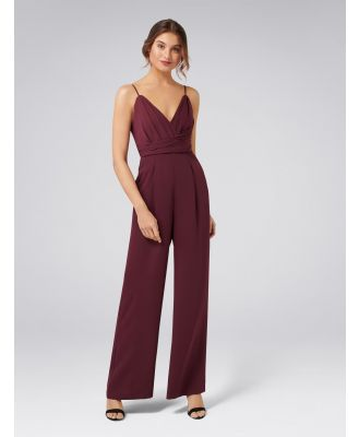 Charlie Drape Bodice Jumpsuit - Red Shiraz