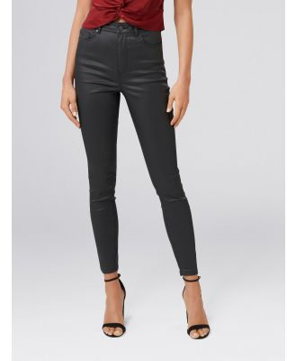 Cleo High-Rise Ankle Grazer Jeans - Coated Black
