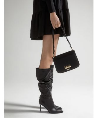 Courtney Ruched Knee Boots - Black