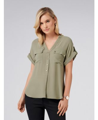 Dana Drop Shoulder Tab Tunic - Khaki Sage