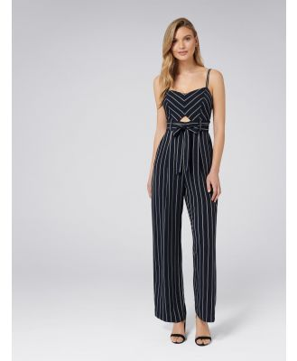 Denver Stripe Jumpsuit - Navy/Porcelain