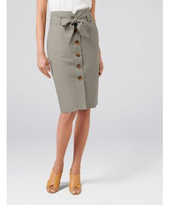 Elsa Linen Blend Pencil Skirt - Sweet Clover