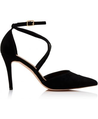 Emily Pointed Cross Strap Court Heels - Black.