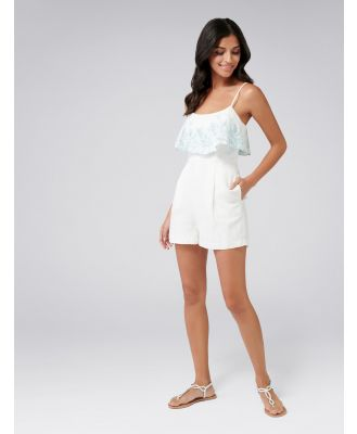Emma Embroidered Linen Playsuit - Porcelain