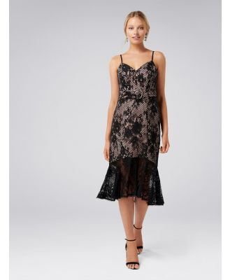 Erika Belted Lace Dress - Black
