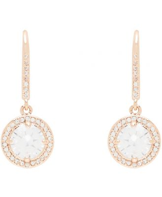 Evelyn Cubic Zirconia Sparkly Round Drop Earrings - Rose Gold