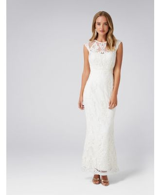 Faith Sequin Short Sleeve Gown - Porcelain