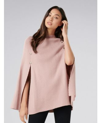 Fiona Knitted Button Poncho - Pink