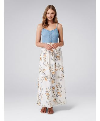 Grace Printed Two-in-One Maxi Dress - Antique Rose