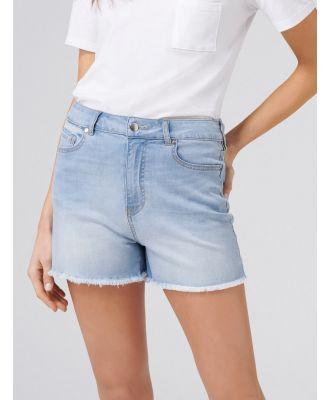 Heather High Rise Cut-Off Denim Shorts - Beach Blue