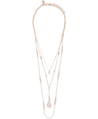 Iva Bead and Stone Layered Necklace - Rose Gold