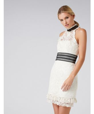 Ivory Embroidered Lace Dress - Cream Black