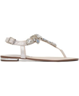 Jazzy Jewelled Toepost Sandals - Blue/Crystal