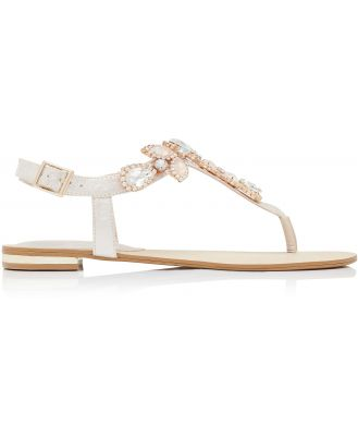 Jazzy Jewelled Toepost Sandals - Nude Shimmer