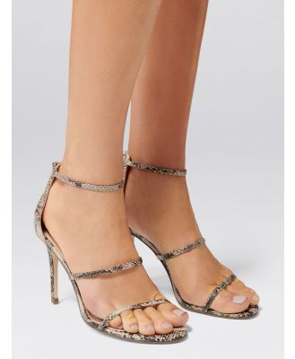 Juliana Three-Strap Stiletto Heels - Snake
