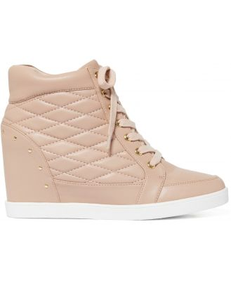 Kyra Quilted Wedge Sneakers - Blush