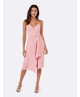 Laken Asymmetric Tie Slip Dress - Lotus Pink