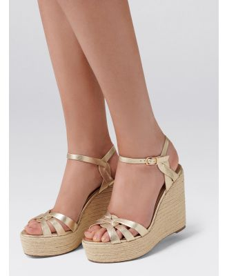 Lola Twist Detail Espadrille Wedges - Gold