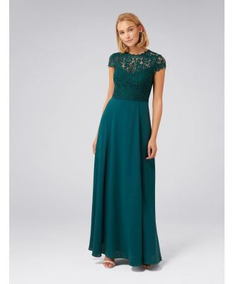 Macie Cap Sleeve Lace Bodice Gown - Teal Oasis