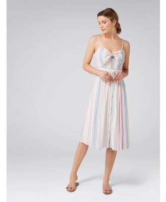 Mya Tie Front Button Through Dress - Stripe/Multi