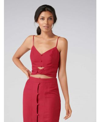 Naomi Co-ord Twist Front Button Cami - Cherry