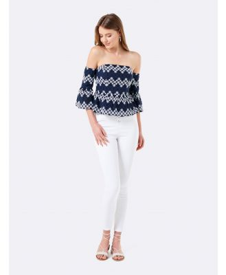 Nellie Embroidered Bardot Top - Navy/White