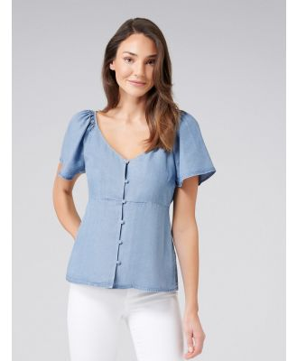 Nellie Fluted Sleeve Blouse - Mid Wash
