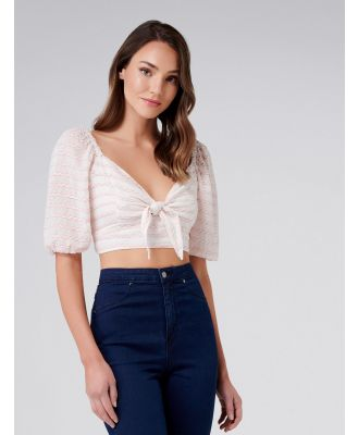 Olivia Tie Front Stripe Crop - Pink/Cream Stripe