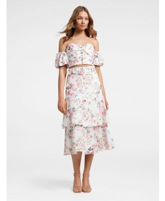Pippa Linen Tiered Skirt - Vintage Floral