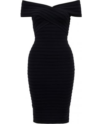 Rina Cross Front Bardot Dress - Black