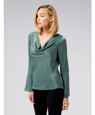Scarlet Satin Flare Sleeve Cowl Neck Top - Evergreen