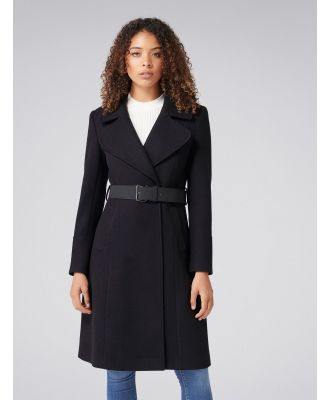 Stephanie Belted Fit and Flare Coat - Black