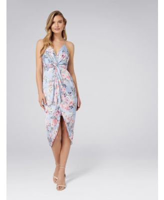 Summer Knot Front Maxi Dress - Blue Based Print