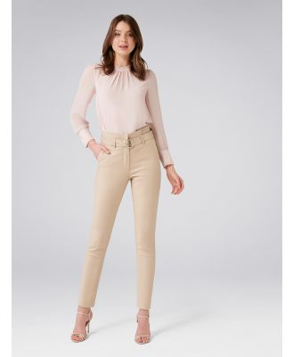 Talia Tapered Paper Bag Pants - Stone