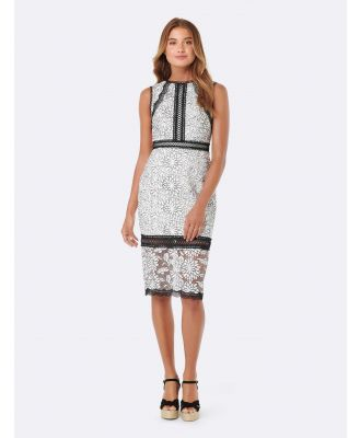 Theresa Lace Pencil Dress - Porcelain/ Black Lace