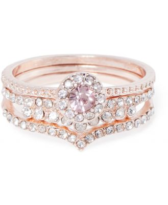 Tril Dainty Three-Pack of Rings - Rose Gold