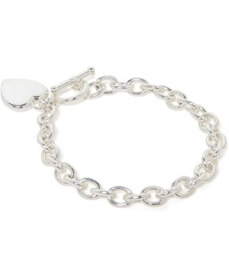 True Heart and Toggle Charm Bracelet - Silver