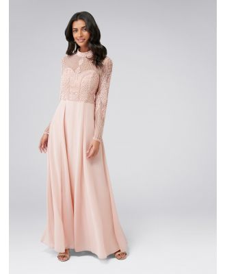 Violet Beaded Long Sleeve Maxi Dress - Blush